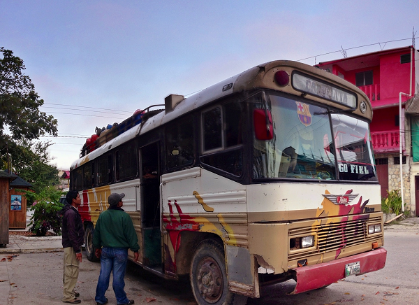 Our chicken bus flores to remate to trek to el mirador