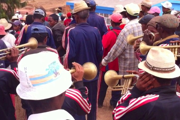 The Famadihana band with their tattered old brass instruments