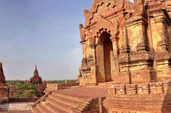 North Guni Temple sits in the shadows behind the cursed Dhammayangyi Temple in Bagan