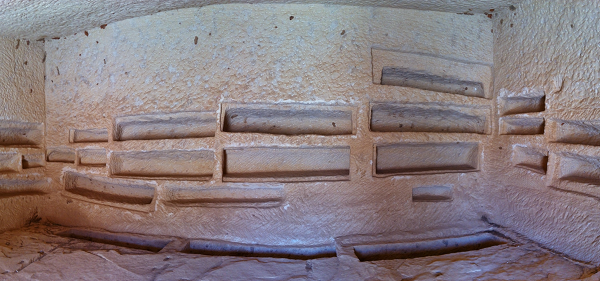 The tomb room of a powerful family in Madain Saleh.  The grave robbers likely received 5 curses.