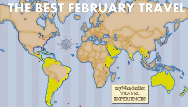 Travel Map for the Best February Travel Experiences.  Highlighted countries enjoy the best weather in February
