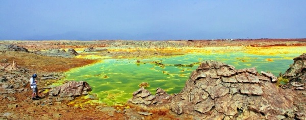 The Danakil Depression is one of the hottest and most inhospitable places on earth.  January is the best month to travel here.  Photo by:
