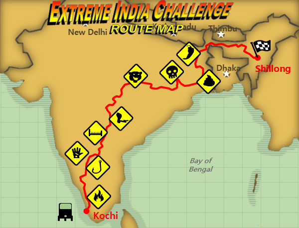 The Extreme India Challenge Route Map: 2000 miles of the most bizarre challenges in India