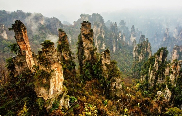 The spectacular hanging peaks of Zhangjiajie National Forest