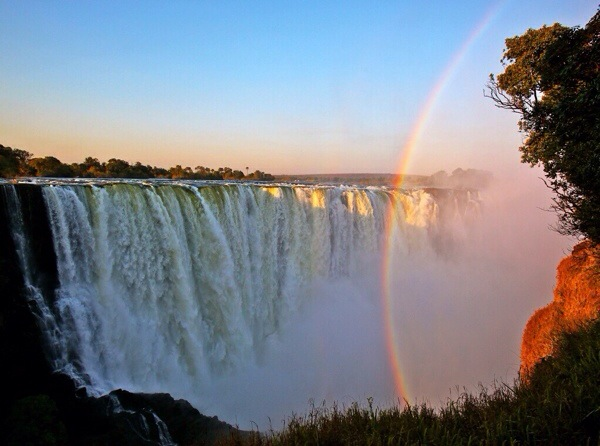 "Victoria Falls creates eternal rainbows at high water.  During full moons, the phenomenon of ""moonbows"" is seen."