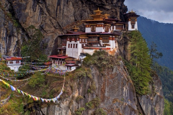 The Taktsang Palphug Monastery (Also called Tiger's Nest Monestary) still clings impossibly to the side of a cliff despit being built without concrete in 1692.