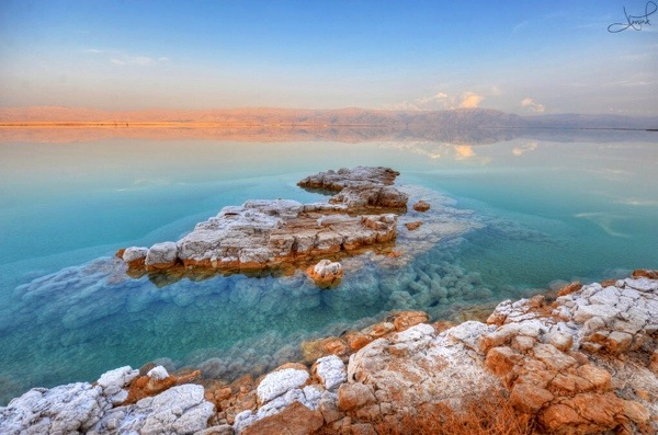 The dead sea is one of the saltiest lakes on the planet.  People flock to the healing waters to experience the extreme buoyancy.