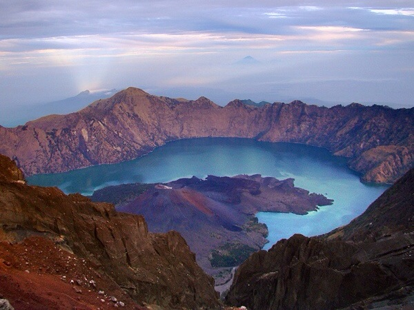 The view from the ridiculous crater lake of Gunung Rinjani mountain, Lombok.