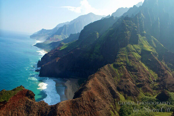 The stunning view from a helicopter above Kauai's rugged Napali Coast