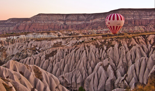 Rose Valley in Goreme, Cappadocia by hot air balloon ()