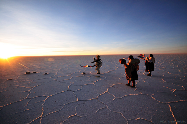 The Salar de Uyuni Salt Flats in Bolivia